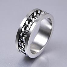 2017 New 10pcs Quality Comfort-fit Silver CHAIN Stainless steel SPINNRING Rings Wholesale Fashion Jewelry Job Lots For men