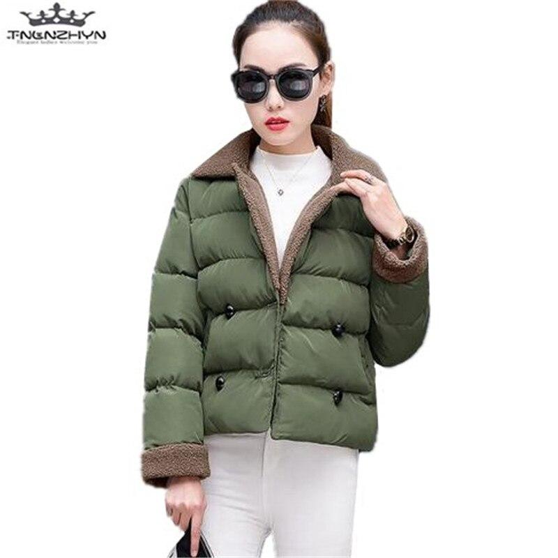 tnlnzhyn 2017 New Winter Women Jacket and Coat Fashion Warm Cotton Jacket Female Short Outerwear Tops Casual Jacket Parkas Y523Îäåæäà è àêñåññóàðû<br><br>