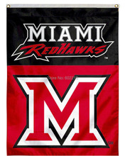 Miami University House College Large Outdoor Flag 3ft x 5ft Football Hockey College USA Flag(China)