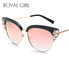 ROYAL GIRL Exaggeration Cat Eye Sunglasses Women Brand Designer Half Frame Diamante Sun Glasses Summer Style oculos de sol SS224(China)