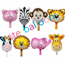 50pcs mini Lion&monkey&zebra&deer&cow&elephant&pigAnimal Head Helium Foil Balloon Animal Air Balloon theme birthday party supply