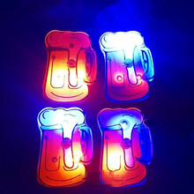 2018 New Beer Cup LED Flashing Brooch Pin Light Up Glowing Badge Adults Bar KTV Nightclub Dress Decor Glow Party Supplies(China)