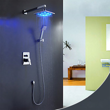 MAXSWAN Bathroom LED Shower Set Ceiling Rain Shower Sets Rainfall Concealed Panel Bath & Shower Faucets