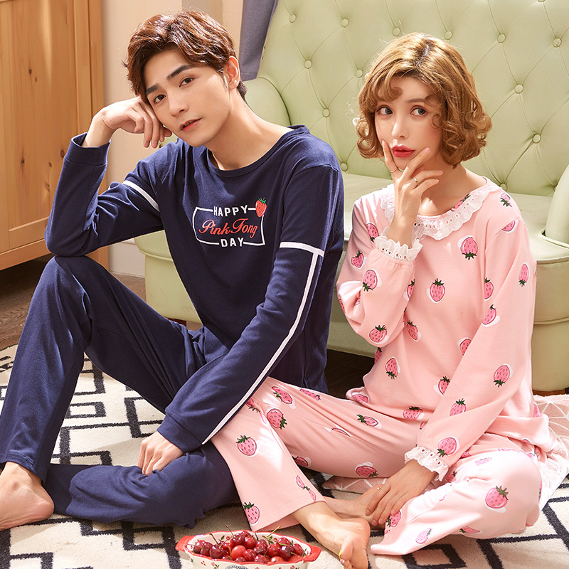 New 2018 Spring And Autumn Cotton Long Sleeve Couple Homewear Suit Cute Strawberry Lovers Pajamas Sets