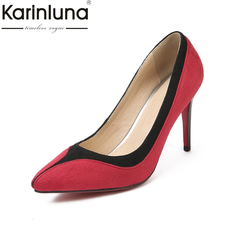 Karinluna 2018 top Quality Large Size 32-47 Brand Shoes Women Sex Thin High Heels Pointed Toe Woman Shoes Red Woman Pumps<br>