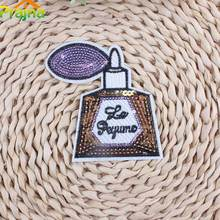 Hot Sale Perfume Bottle With Letter Patch Applique Iron On Cartoon Cheap Sequin Fashion Patches For Clothes Stickers Accessories