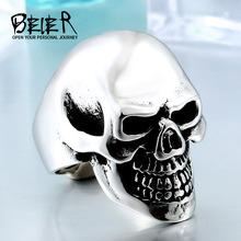 BEIER New store Wholesale Classic Garden Skull Ring For Man Stainless Steel Man's Punk Style Jewelry Good Polished BR8424(China)