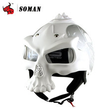SOMAN White Personal Moto Helmet Vintage Motorcycle Helmet Half Face Skull Motorcycle Helmet Novelty Retro Casque Double Lens(China)