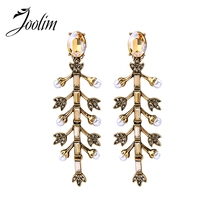 JOOLIM Lady Fashion S Jewelry Wholesale/  Antique Gold Leaf Chandelier Earring Fashion Earring Free Shipping