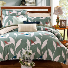 Queen size 100% Cotton Tree Birds Printed Bedding set 4Pcs Double Single Bed/Fit sheet set Duvet cover Pillow shams(China)
