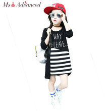 Girls Fall Dresses Fashion Striped Princess Dress Children Clothing Casual Vestidos Kids Clothes 10 Years Girls Clothes(China)