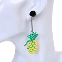 "8SEASONS Polyester Embroidery Stud Earrings Green & Yellow Pineapple/ Ananas Fruit Pentagram Star 8.2cm(3 2/8""), 1 Pair"