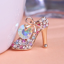 Korean Jewelry Colorful Rhinestone Brooches High heeled Shoes Broches Brooch Bouquet Hijab Pins Relogio Masculinos From India UK(China)
