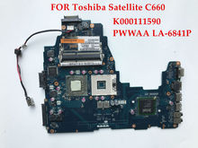 Original laptop motherboard for Toshiba Satellite C660 K000111590 PWWAA LA-6841P GL40 Socket 478 GL40 DDR3 Fully tested