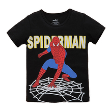 2017 New Spider Man Pattern Boys T-shirt Children's Clothing Kids Short Sleeve Cotton T-shirt Baby Boys O-neck Leisure Wear