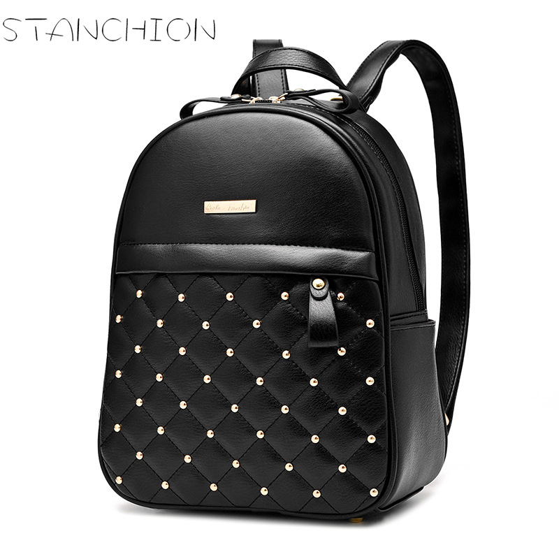 STANCHION  PU Leather Elegant Backpack for Women Mini Rivet School Bags for Teenagers Girl<br>