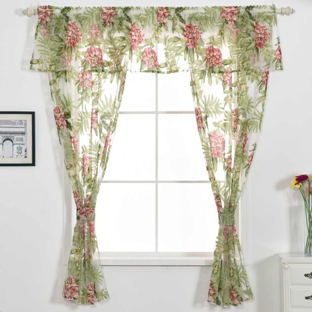 Free shipping Short floral window flower tulle set home decoration design with curtain Valance curtain tiebacks green kitchen