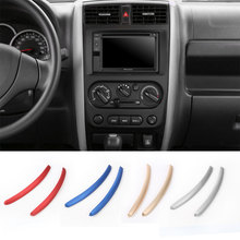 2Pcs Aluminium Central Control Instrument Panel Interior Accessories Dashboard Trim Decorative Sticker For Suzuki Jimny 11-15(China)