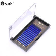 Eyemix 12 Rows 10/12/14mm Mix Length Blue Colored Silk lashes B/C Curl Thick Long Soft Fake False Eyelashes Make up Tools