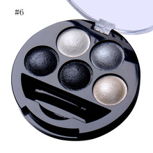 1Pcs 5 Colors Baked Eyeshadow Cosmetics 6 Style Metallic Shimmer Warm Color Eye Shadow Powder Palette With Brush and Mirror(China)