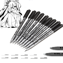 Different Types Pigment Liner Art Marker Pen Black Water Based Sketch Brush Markers Drawing Handwriting Supplies Stationery