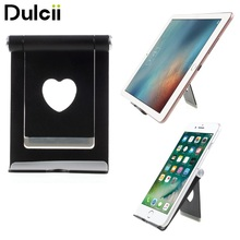 Dulcii Desktop Phone Mounts Foldable Aluminum Alloy Desktop Holder Stand with Heart Shape Opening for iPhone iPad Samsung etc.(China)