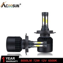 AcooSun 72W 8000LM H7 H4 LED H11 H1 H3 9005 9006 9012 Car LED Headlight COB Chip Auto light Fog Lamp Hi-Lo Bulb 6500K Pure White