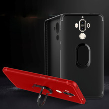 Full Cover Cases for Huawei Mate 9 Car Holder Magnetic Metal Finger Ring Soft TPU Back Case Cover for Huawei Mate9 Coques Fundas(China)