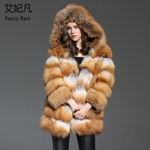 Brand New Real Fur Coats Hooded Genuine Fox Fur Women Outwear Winter Warm Natural Fur Long Jacket Female Real Red Fox Fur Coat