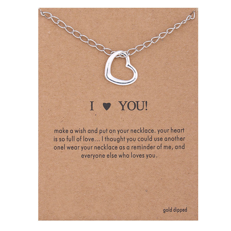 Hot Sale Sparkling Love Pendant necklace Silver plated Clavicle Chains Statement Necklace Women Jewelry(Has card)