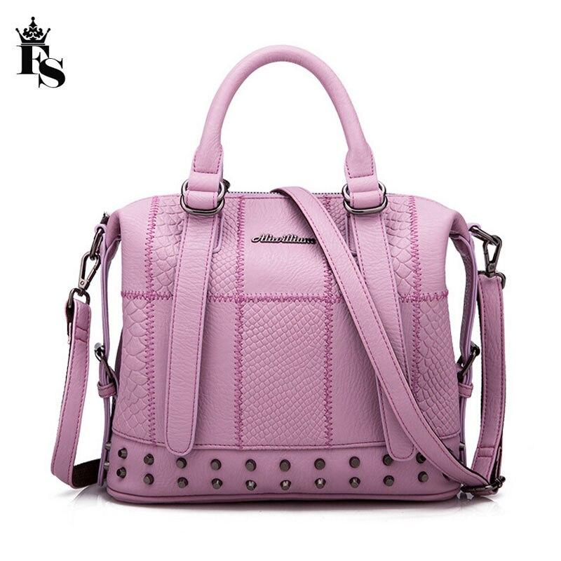 2016 Women bags handbags famous brands Designer Quality Leather Rivets luxury ladies handbags dollar price Clutch bolsa feminina<br>