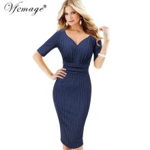 Vfemage Womens Elegant Sexy V Neck Ruched Ruffle Striped Vintage Slim Tunic Work Office Business Party Bodycon Pencil Dress 7596(China)