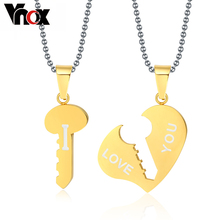 Vnox Key and Heart Necklace Sets Couple His & Hers Promise Stainless Steel Jewelry