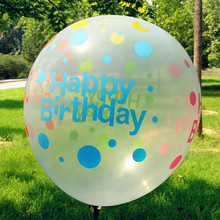 12 pcs / lot 12inch Circular Transparent Colored Printed Latex Balloon Toy Balloons Happy birthday party(China)