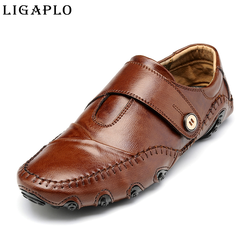 Men Genuine Leather Shoes brand Comfortable mens Casual Shoe Slip On chaussure homme boat shoes of Driving shoes<br>