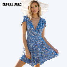 Refeeldeer Floral Deep V-neck Wrap Summer Dress Women 2017 Summer Sundress Casual Tunic Beach Dress Shirt Short Sexy Robe Femme(China)