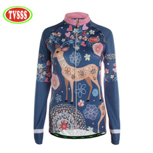 TVSSS Mavic Summer Cycling Jersey Women's Long Sleeve With Elk Pattern Ropa Ciclismo Mountain Bike Clothing  Design Jersey