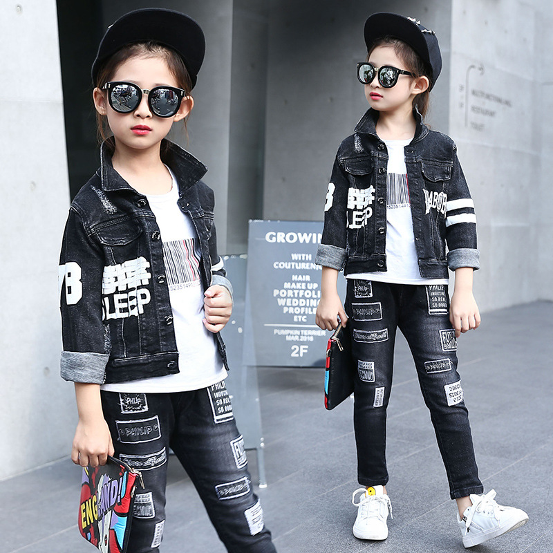 2017 spring autumn new girl korean fashion streetwear letters cowboy two suits girls apparel denim jacket and jeans 2pcs sets<br>