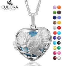 Eudora Harmony Heart Shape Crane Floating Locket Cage With Angel Caller Colorful Wishing ball Pendant Pregnancy Women Necklace