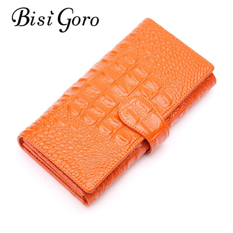 Bisi Goro 2017 Womens Wallets Women Cowhide Leather Wallet Alligator Ladies Party Clutch Patent Leather Purses Long Card Holder<br>