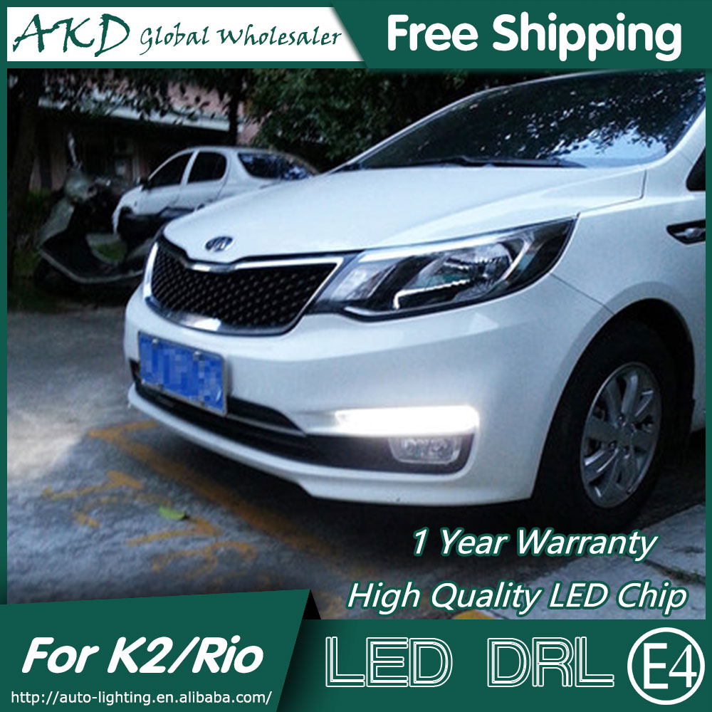 AKD Car Styling for Kia K2 DRL 2014-2015 New Rio LED DRL Signal LED Running Light Fog Light Parking Accessories<br>