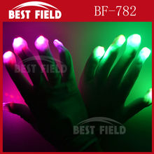 Free Shipping 4pcs(2pairs)/lot 7mode Men Women Nylon LED Rave Light Finger Glow Mitt Night Club Lighting Flashing Gloves White(China)