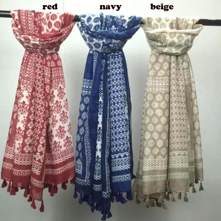 2016 Women Vintage Floral Pattern Scarf Floral printed Cotton Voile Scarf 3Colors 10pcs/Lot