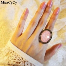 MissCyCy Fashion Retro All-match Oval Cut Flower Rings For Women Gift