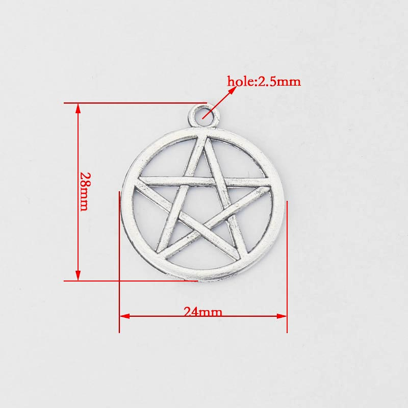 15Pcs//Lot 28 x 24mm Pentagram Charms Pendants DIY Jewelry Making Accessories