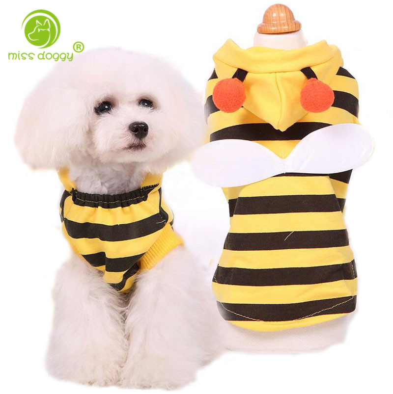 Lovely Wings Dog Clothes Winter Cat Products Bee Apparel Coat Hoodie Costume Outfit Dog Clothes Cute Pets Clothing Supplies
