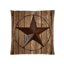 Western Texas Star With Vintage Wood Planks Comfortable Square Zippered Twin Side Printed Pillow Case Cover