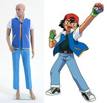 Pokemon Ash Ketchum Cosplay Costume Style A Custom Made Free Shipping(China)