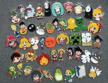 50pcs mixs Cartoon Japanese anime Metal Charm Key chain necklace Pendants DIY Jewelry Making Mobile Phone Accessories