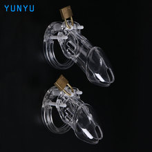 1 Set Plastic Male Chastity Device With Size Penis Ring Cock Cages Ring Virginity Lock Belt Sex Toy for Men Penis Sleeve